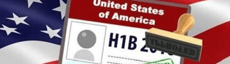US flag with H-1B